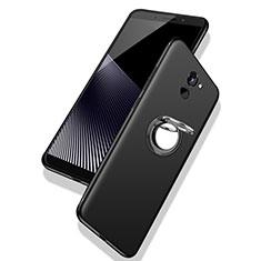Coque Ultra Fine Silicone Souple Housse Etui avec Support Bague Anneau pour Huawei Enjoy 7 Plus Noir