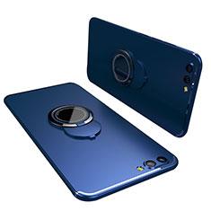 Coque Ultra Fine Silicone Souple Housse Etui avec Support Bague Anneau pour Huawei Honor V10 Bleu