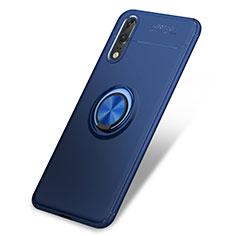Coque Ultra Fine Silicone Souple Housse Etui avec Support Bague Anneau pour Huawei P20 Bleu