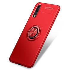 Coque Ultra Fine Silicone Souple Housse Etui avec Support Bague Anneau pour Huawei P20 Rouge