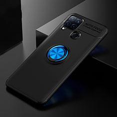 Coque Ultra Fine Silicone Souple Housse Etui avec Support Bague Anneau pour Realme C15 Bleu et Noir