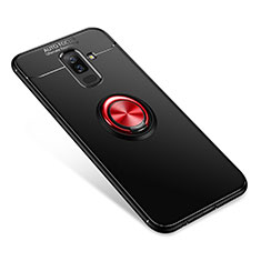 Coque Ultra Fine Silicone Souple Housse Etui avec Support Bague Anneau pour Samsung Galaxy A6 Plus (2018) Rouge et Noir