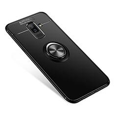 Coque Ultra Fine Silicone Souple Housse Etui avec Support Bague Anneau pour Samsung Galaxy A9 Star Lite Noir