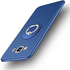 Coque Ultra Fine Silicone Souple Housse Etui avec Support Bague Anneau pour Samsung Galaxy DS A300G A300H A300M Bleu