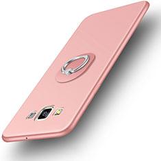 Coque Ultra Fine Silicone Souple Housse Etui avec Support Bague Anneau pour Samsung Galaxy DS A300G A300H A300M Or Rose