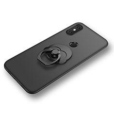 Coque Ultra Fine Silicone Souple Housse Etui avec Support Bague Anneau pour Xiaomi Mi 8 Noir