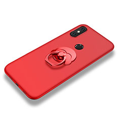 Coque Ultra Fine Silicone Souple Housse Etui avec Support Bague Anneau pour Xiaomi Mi 8 SE Rouge