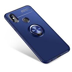 Coque Ultra Fine Silicone Souple Housse Etui avec Support Bague Anneau pour Xiaomi Mi A2 Bleu