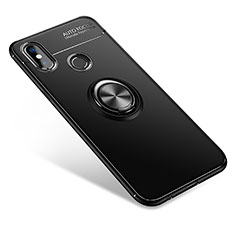 Coque Ultra Fine Silicone Souple Housse Etui avec Support Bague Anneau pour Xiaomi Mi A2 Noir