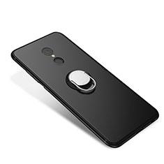 Coque Ultra Fine Silicone Souple Housse Etui avec Support Bague Anneau pour Xiaomi Redmi 5 Noir
