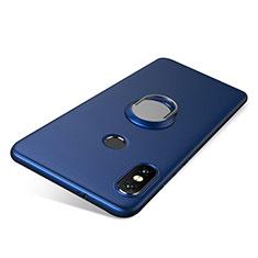 Coque Ultra Fine Silicone Souple Housse Etui avec Support Bague Anneau pour Xiaomi Redmi Note 5 Pro Bleu