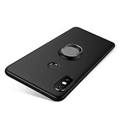 Coque Ultra Fine Silicone Souple Housse Etui avec Support Bague Anneau pour Xiaomi Redmi Note 5 Pro Noir