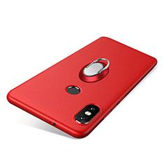 Coque Ultra Fine Silicone Souple Housse Etui avec Support Bague Anneau pour Xiaomi Redmi Note 5 Pro Rouge