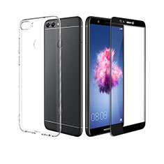 Coque Ultra Fine Silicone Souple Transparente et Protecteur d'Ecran pour Huawei Enjoy 7S Noir