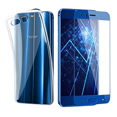 Coque Ultra Fine Silicone Souple Transparente et Protecteur d'Ecran pour Huawei Honor 9 Bleu