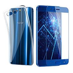 Coque Ultra Fine Silicone Souple Transparente et Protecteur d'Ecran pour Huawei Honor 9 Premium Bleu