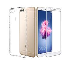 Coque Ultra Fine Silicone Souple Transparente et Protecteur d'Ecran pour Huawei P Smart Blanc