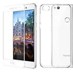 Coque Ultra Fine Silicone Souple Transparente et Protecteur d'Ecran pour Huawei P8 Lite (2017) Blanc