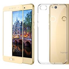 Coque Ultra Fine Silicone Souple Transparente et Protecteur d'Ecran pour Huawei P9 Lite (2017) Or