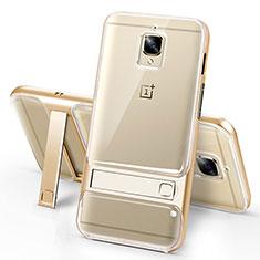 Coque Ultra Fine Silicone Souple Transparente et Support pour OnePlus 3 Or