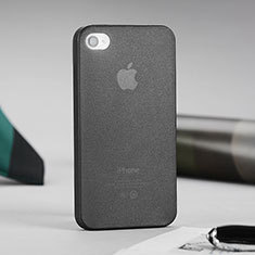 Coque Ultra Fine Silicone Souple Transparente Mat pour Apple iPhone 4 Gris