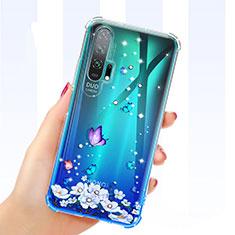 Coque Ultra Fine TPU Souple Housse Etui Transparente Fleurs K01 pour Huawei Honor 20 Pro Bleu