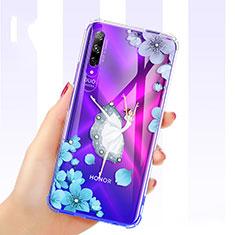 Coque Ultra Fine TPU Souple Housse Etui Transparente Fleurs pour Huawei Honor 9X Pro Bleu