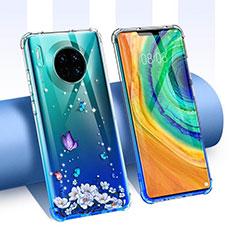 Coque Ultra Fine TPU Souple Housse Etui Transparente Fleurs pour Huawei Mate 30 5G Bleu