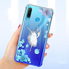 Coque Ultra Fine TPU Souple Housse Etui Transparente Fleurs pour Huawei P30 Lite Bleu