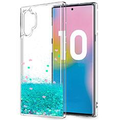 Coque Ultra Fine TPU Souple Housse Etui Transparente Fleurs pour Samsung Galaxy Note 10 Plus Vert