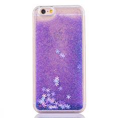 Coque Ultra Fine TPU Souple Housse Etui Transparente Fleurs T01 pour Apple iPhone 6S Violet