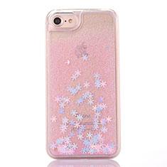 Coque Ultra Fine TPU Souple Housse Etui Transparente Fleurs T01 pour Apple iPhone SE (2020) Rose