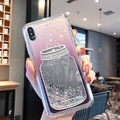 Coque Ultra Fine TPU Souple Housse Etui Transparente Fleurs T01 pour Apple iPhone XR Gris