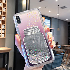 Coque Ultra Fine TPU Souple Housse Etui Transparente Fleurs T01 pour Apple iPhone Xs Gris