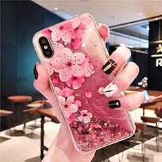 Coque Ultra Fine TPU Souple Housse Etui Transparente Fleurs T01 pour Apple iPhone Xs Rose