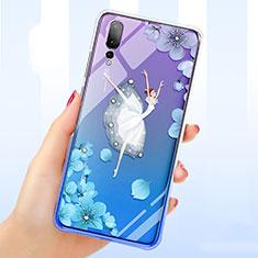 Coque Ultra Fine TPU Souple Housse Etui Transparente Fleurs T01 pour Huawei P20 Pro Bleu