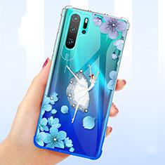 Coque Ultra Fine TPU Souple Housse Etui Transparente Fleurs T01 pour Huawei P30 Pro New Edition Bleu