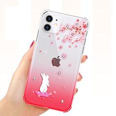 Coque Ultra Fine TPU Souple Housse Etui Transparente Fleurs T03 pour Apple iPhone 11 Rouge