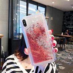 Coque Ultra Fine TPU Souple Housse Etui Transparente Fleurs T03 pour Apple iPhone Xs Max Rouge
