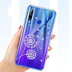 Coque Ultra Fine TPU Souple Housse Etui Transparente Fleurs T03 pour Huawei Honor 20E Bleu