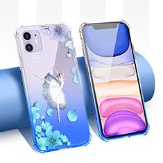 Coque Ultra Fine TPU Souple Housse Etui Transparente Fleurs T04 pour Apple iPhone 11 Bleu