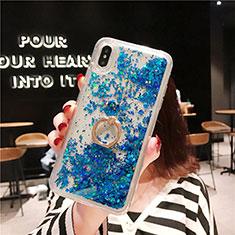 Coque Ultra Fine TPU Souple Housse Etui Transparente Fleurs T25 pour Apple iPhone Xs Max Bleu