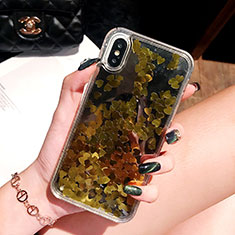 Coque Ultra Fine TPU Souple Housse Etui Transparente Fleurs T26 pour Apple iPhone X Or