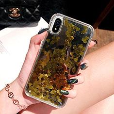 Coque Ultra Fine TPU Souple Housse Etui Transparente Fleurs T26 pour Apple iPhone XR Or