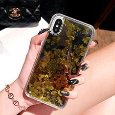 Coque Ultra Fine TPU Souple Housse Etui Transparente Fleurs T26 pour Apple iPhone Xs Or