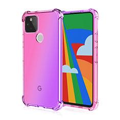 Coque Ultra Fine TPU Souple Housse Etui Transparente H01 pour Google Pixel 5 Rose