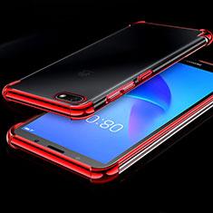 Coque Ultra Fine TPU Souple Housse Etui Transparente H01 pour Huawei Y5 Prime (2018) Rouge