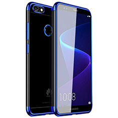 Coque Ultra Fine TPU Souple Housse Etui Transparente H01 pour Huawei Y6 Pro (2017) Bleu