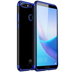 Coque Ultra Fine TPU Souple Housse Etui Transparente H01 pour Huawei Y7 (2018) Bleu