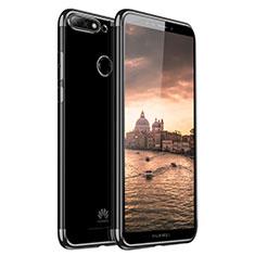 Coque Ultra Fine TPU Souple Housse Etui Transparente H01 pour Huawei Y7 (2018) Noir